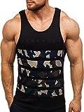 BOLF Herren Tank Top T-Shirt Muskelshirt Camouflage Sport Style Breezy 171090 Schwarz L [3C3]