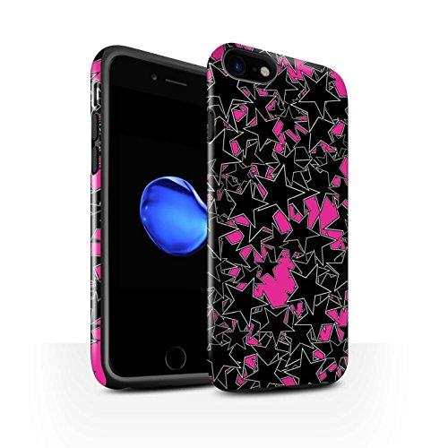 STUFF4 Glanz Harten Stoßfest Hülle / Case für Apple iPhone 8 / Gelbes Muster Muster / Zerstreute Sterne Kollektion Zufälliges Rosa