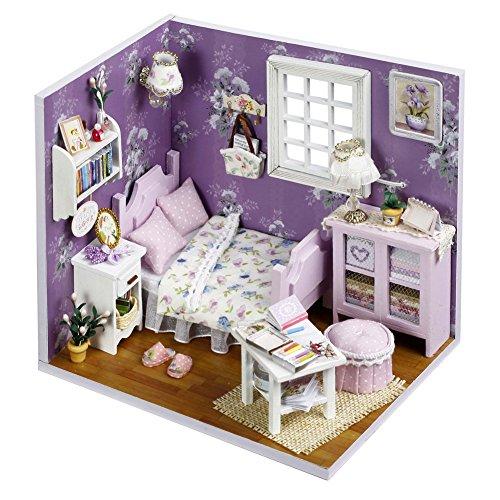 Oshide Puppenhaus Dollhouse DIY Kit Geschenk Mit Abdeckung und LED Licht (Lila Zimmer)