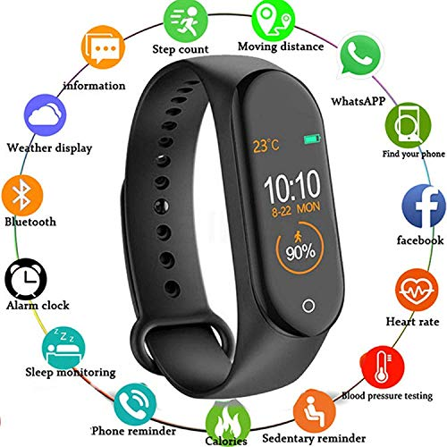 VKB M4 Smart Fitness Band,Activity Tracker | Bluetooth 4.2 | OLED Heart Rate Monitor, Health Activity, Smart Bracelet Wristband for All Android and iOS Smartphones (Black)