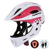 TOMSHOOH Casco integrale per bici da bambino Sicurezza per bambini Equitazione Skateboard Casco da pattinaggio Sport Protezione della testa con fanale posteriore e mento staccabile-(Bianco)
