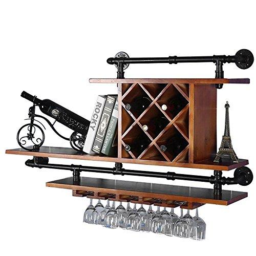 TUNBG Boden European Eisen Wasserpfeife Glas Holz hölzern rot Regale Stangen Wein Rack Wand Wein, 115 Length, 23 Width and 65 high (Kunst Aus Glas, Wasserpfeife)