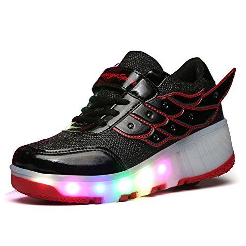 SGoodshoes Homme Femme LED Chaussures à roulettes Patins Garçon Sneakers Clignotant Sport Chaussures Patins Enfants Fille Garçon Noir rouge