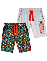 Marvel Pantalones Cortos, Pantalon Corto Niño con Los Vengadores Iron Man Capitan America Thor y Hulk, Pantalon Pijama Niño Verano, Regalos para Niños