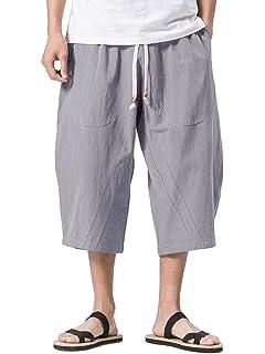 Fhuuly Pantalon Coton Lin Sport 3//4 Shorts Bermudas D/écontract/é pour Homme Coupe Mi-Longue en Lin Sarouel