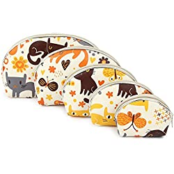 UberLyfe Cream Multipurpose Pouch or Purse with Cute Kitten Motif - Combo of 5 (PU-001094-KITTCR)