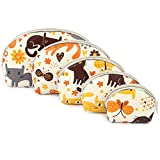#4: UberLyfe Cream Multipurpose Pouch or Purse with Cute Kitten Motif - Combo of 5 (PU-001094-KITTCR)
