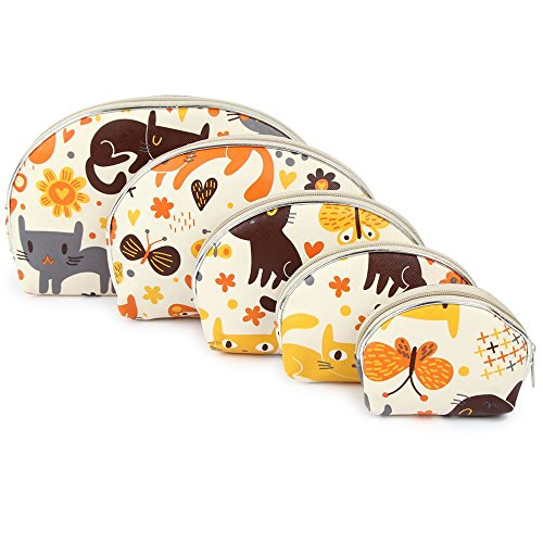 Uberlyfe Cream Multipurpose Pouch With Cute Kitten Motif - Combo...