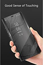 Johra Electroplate Plating Mirror Acrylic Full Body Protective Leather Flip Case for Xiaomi Mi Redmi Note 5 Pro(Black)