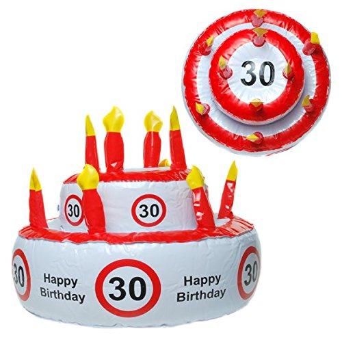 Tarta de Cumpleaños hinchable 30años (también se puede utilizar como sombrero), diseño con texto Happy birtday Material: Plástico ideales para decorar en cumpleaños días Tamaño: Altura 26CM; Diámetro: 30cm