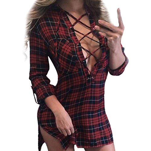 Malloom® Frauen Sexy Plaid V-Ausschnitt Verband Langarm Split Minikleid (XL, rot) (Hemd Chambray-kariertes)