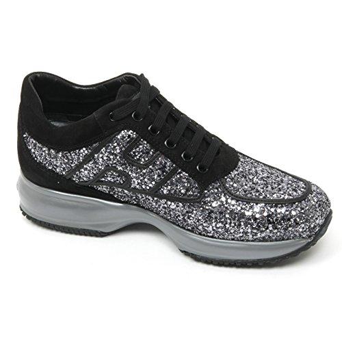B9328 sneaker donna HOGAN INTERACTIVE scarpa nero/grigio glitter shoe woman Nero/Grigio