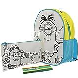 Kinderrucksack von Minions mit Mäppchen zum Selbstausmalen für Schule und Kindergarten inkl. 5 Malstifte