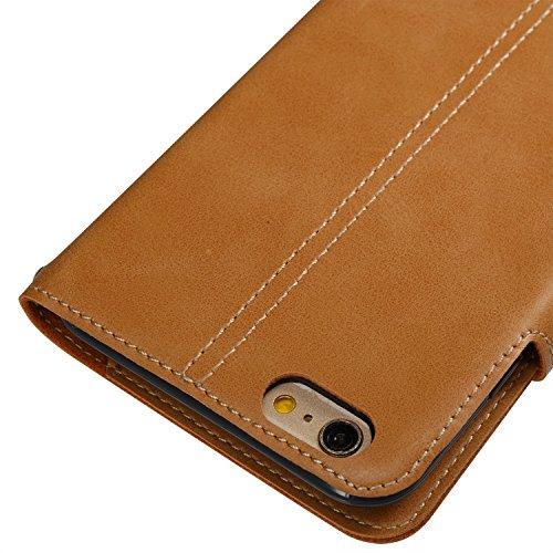 GrandEver iPhone 6 Plus/iPhone 6S Plus Hülle Gute Qualität Lederhülle Schutzhülle mit Kartenfach Handschlaufe Ledertasche Retro Tasche Scratch PU Leder Ledercase Schale Umschlag Stil Wallet Case Flip  Khaki
