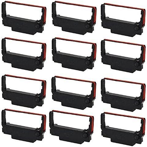 Generic ep30r Compatible cartucho de cinta para Epson ERC 30/34/38, negro/rojo, 12piezas