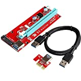 DealsBest USB3.0 PCI-E PCI Express 1X to 16X Riser Card Adapter, Mining Dedicated Graphics Card Extension Cable with SATA Power Slot Connector,60CM USB 3.0 Cable