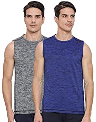 Proline Active Mens Grey/Blue Tank Top(PA031DESD/MBSD)-Pack of 2