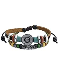 Bling Jewelry Dico stud Bali urf Zen Cuero FlorPulsera de envoltura