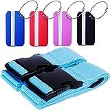 Goldge 2er Gepäckgurt Kofferband Mit Gepäckanhänger Zum Verschließen und Kennzeichnen Von Reisegepäck ,Blau Koffergurt Kreuz