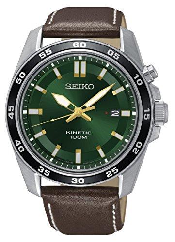 ska791p1Herren Seiko Kinetic Uhr mit Braun Lederband und Datum Display