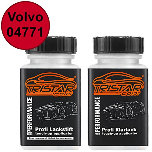 TRISTARcolor Autolack Lackstift Set für Volvo 04771 Red Ferrari Basislack Klarlack je 50ml