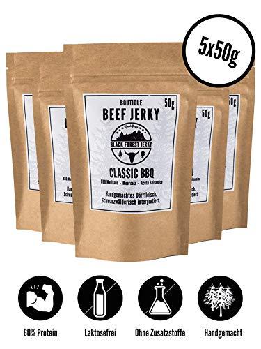 Black Forest Beef Jerky – Classic BBQ 5x50g Laktosefrei, handgemacht, Premium Trockenfleisch, Deutsches