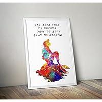 Disney inspiriert Aquarell aus der kleinen Meerjungfrau A4 Größe 8,3 x 11,7 Zoll