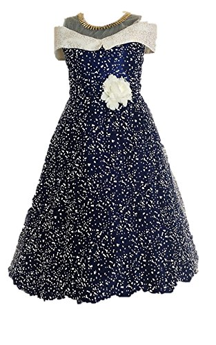 My Lil Princess Baby Girls Birthday Party wear Frock Dress_Blue Polkaa_4-5 Years