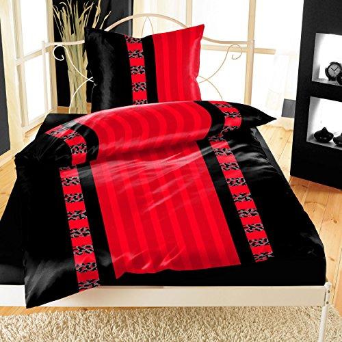 Bettwäsche Microfaser rot schwarz 2-teilig 135x200 Garnitur gestreift