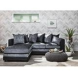 Laura James Group Corner Sofa Set Left Black & Grey