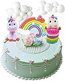 Nuage Arc en Ciel + Licorne Cake Toppers Kit décoration de gâteau pour Enfants Filles Anniversaire Baby Shower Party Set de 5