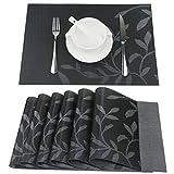 Fanuk Tischsets Set von 6 waschbare Hitze Isolierung Anti-Rutsch gewebte Vinyl Platz Matten für Küche und Esszimmer (schwarzes Blatt)
