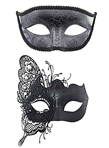 TANKEY Paar Venezianische Maske Set für Maskerade Hochzeit Ball Halloween Party Mardi Gras (Schmetterling-Schwarz)