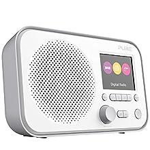 Pure Elan E3 Portable Digital DAB/DAB+/FM Digital Radio with Alarm, Colour Screen, AUX Input, Headphones Output and 40 Station Presets - Portable Radio/Portable DAB Radio - Grey