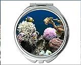 Yanteng Spiegel, Reisespiegel, Meeresfisch-Thema des Taschenspiegels, tragbarer Spiegel 1 X 2X Vergrößerung