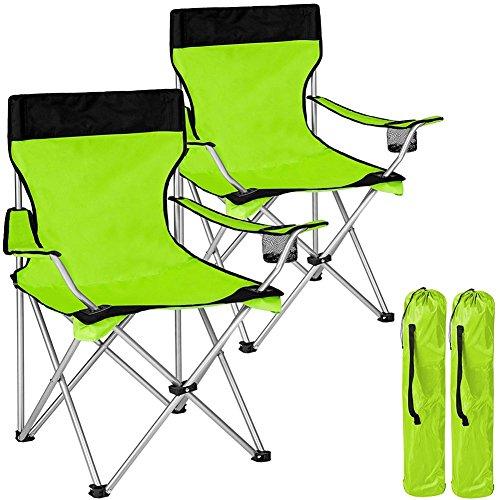 BAKAJI Paar-faltende kampierende Stühle mit Taschen-kampierendem Meer-Strand-Stuhl-Fischen im Freien Polyester Edelstahl mit Tür-Fach-Getränken und Smartphones (Grün)