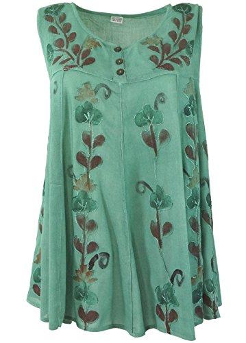 Guru-Shop Bestickte Indische Hippie Bluse, Boho-Chic Bluse, Damen, Salbei, Kunstfaser, Size:40, Tops, T-Shirts, Shirts Alternative Bekleidung (Salbei Bluse,)