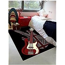 Alfombra de cámara Unión Rock Guitard alfombra niños diseño moderno, negro, 120 x 170 cm