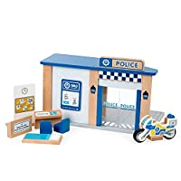 Tidlo T0503 Wooden Police Station with Accessories, Multi-Colour