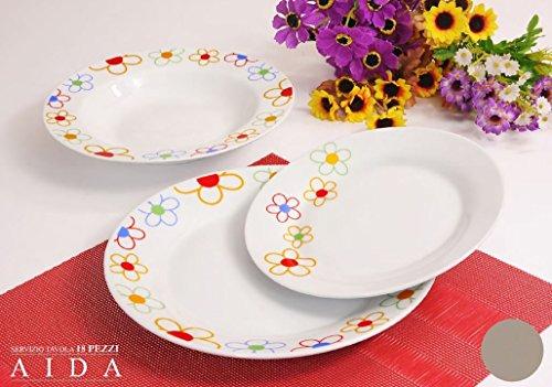Albalù Italia Servizio Piatti da TAVOLA Colorati in Ceramica di Design Shabby Chic Linea Aida|6 Persone 18 Pezzi : 6 Piatti Fondi, 6 Piatti Piani, 6 Piatti Frutta