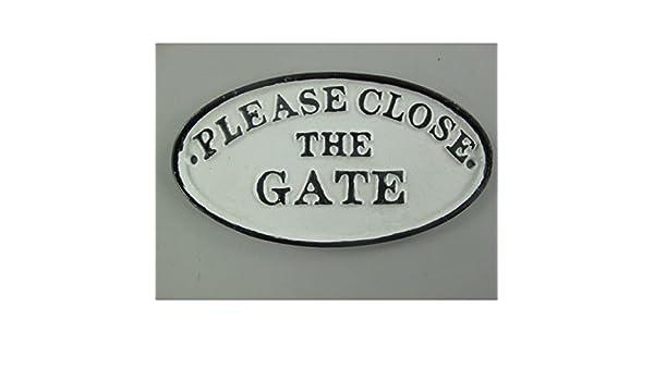 Wandschild gusseisen Please close the gate