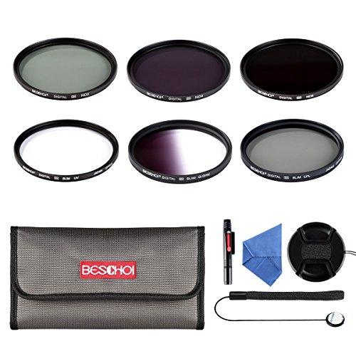 Beschoi 6Pcs Filter Set 67mm UV CPL Grauverlaufsfilter + Graufilter-Set (ND2 ND4 ND8) + Filter Zubehör Kit für 67mm Fotokameraobjektiv