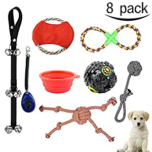 Jouets pour chien MG MULGORE 8 Pack Puppy Cotton Rope Chew Toy 6 Variety Pet Dogs Ensemble de jouets Inclut Bowl Frisbee Disc Rope Chew Toy Training Clicker Giggle Leakage Ball Puppy Door Bells pour Medium to Small Dog