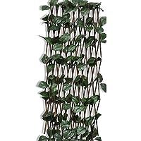 سياج بحجم كبير مزين باغصان ونباتات صناعيىة بتصميم قابل للتمدد