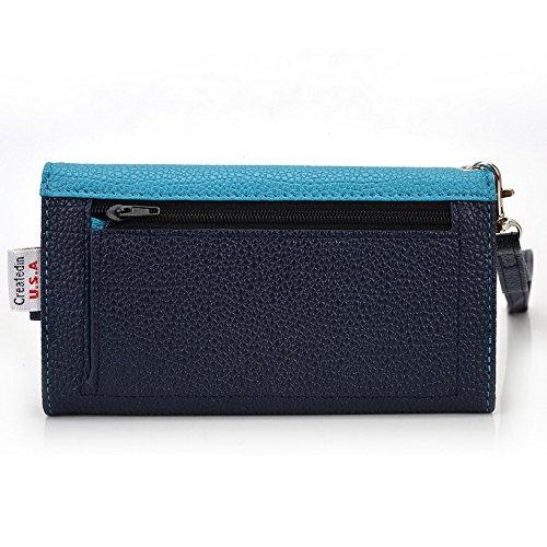 Kroo Pochette Téléphone universel Femme Portefeuille en cuir PU avec dragonne pour Samsung Galaxy A3Duos/Core Prime Multicolore - Blue and Red Bleu - bleu