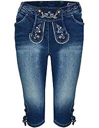Damen Stretch Trachtenjeans Johanna (Gr. 34-50) Kniebund Jeans mit Lederhosenoptik
