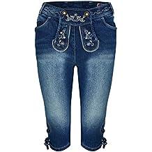 Damen Stretch Trachtenjeans Johanna (Gr. 34-50) Kniebund Jeans mit  Lederhosenoptik 58c11c5679