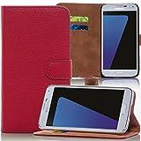 Numerva Samsung Galaxy S6 Edge Hülle, Schutzhülle [Bookstyle Handytasche Standfunktion, Kartenfach] PU Leder Tasche für Samsung Galaxy S6 Edge Wallet Case [Rot]