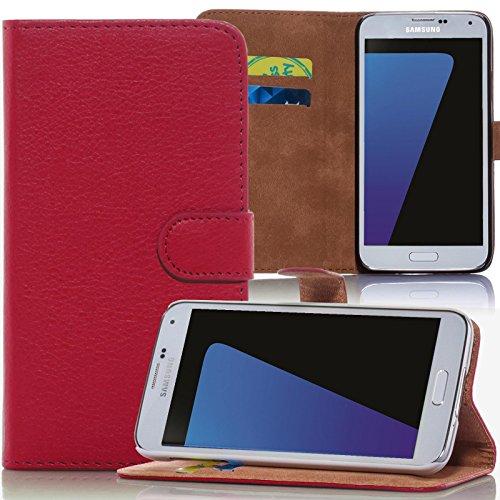 Numerva LG G4C Hülle, Schutzhülle [Bookstyle Handytasche Standfunktion, Kartenfach] PU Leder Tasche für LG G4C H525N Wallet Case [Rot]