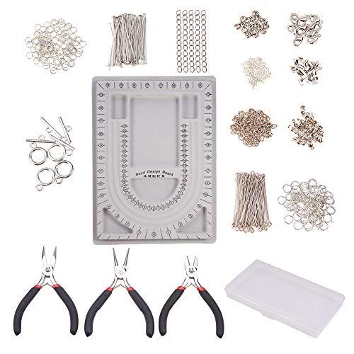 PandaHall Jewelry Making Supplies Kit mit Perlendesignbrett, Zangen, Kristallfaden, Pins, Quetschperlen, Schmuckzubehör für Schmuckreparatur und Beading (17 Schmuckzubehör) (Schmuck Store Supply)